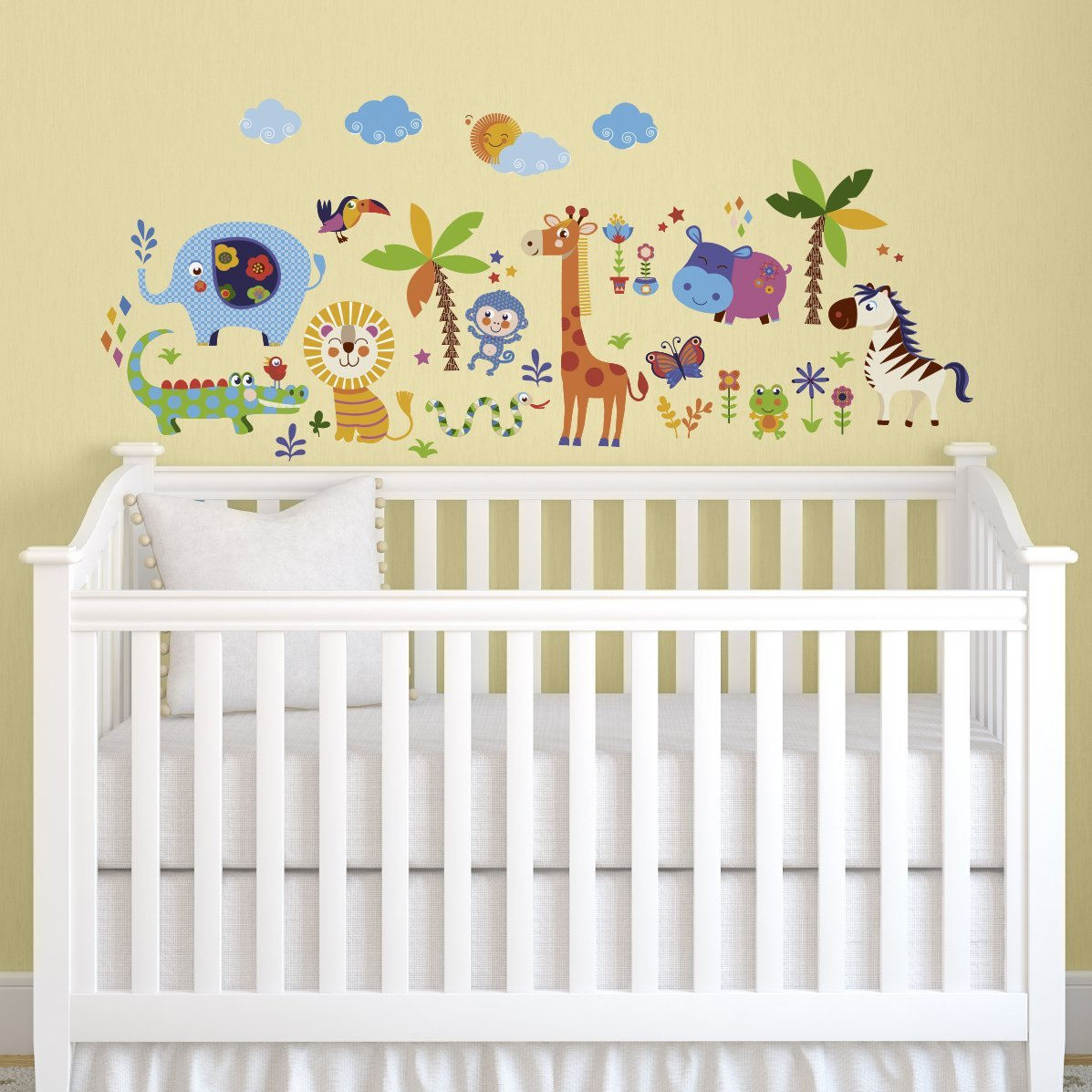 Crazy Jungle Animals Baby/Nursery Wall Sticker Decals for Boys and ...