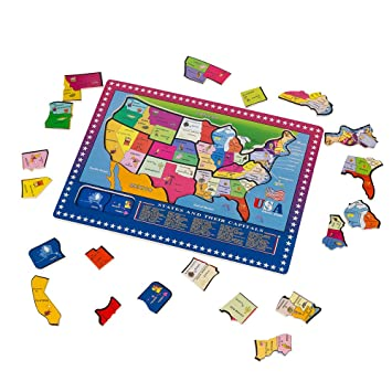wondertoys 21 pieces wooden usa map puzzle educational geography jigsaw puzzle toys for kids