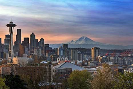 Poster Foundry Seattle Sunrise With Mount Rainier Space Needle Photo Print Stretched Canvas Wall Art 24x16 Inch Posters Prints