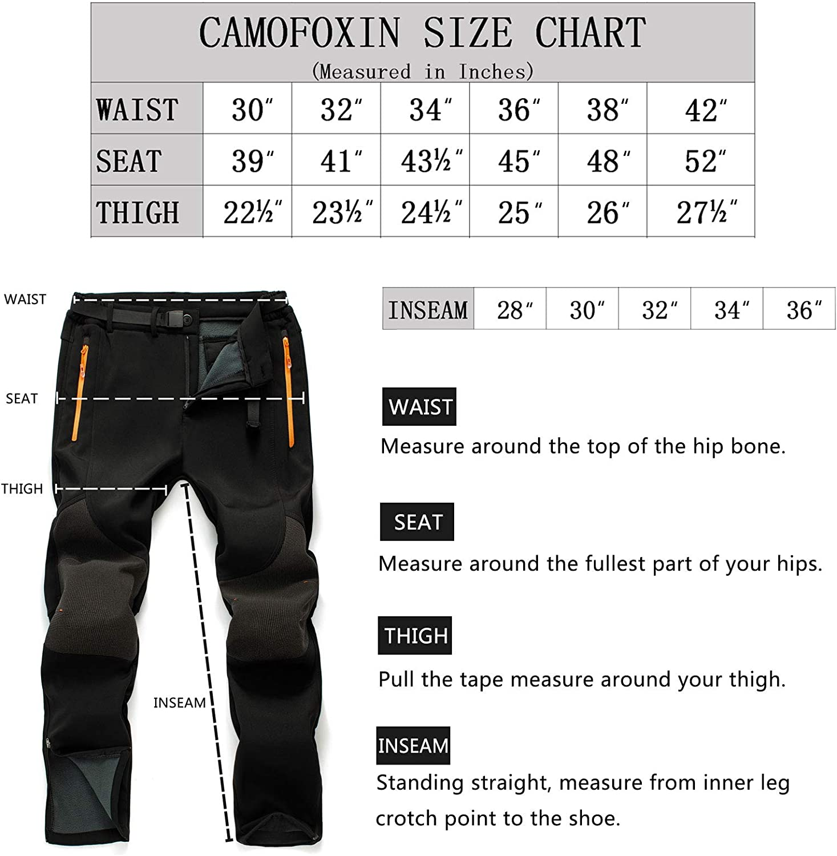 Waterproof Snow Hiking Pants for Snowboarding Black, Grey CAMOFOXIN Mens Fleece Ski Pants with Belt