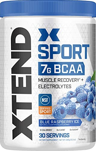 XTEND Sport BCAA Powder Blue Raspberry Ice Electrolyte Powder for Recovery Hydration with Amino Acids 30 Servings