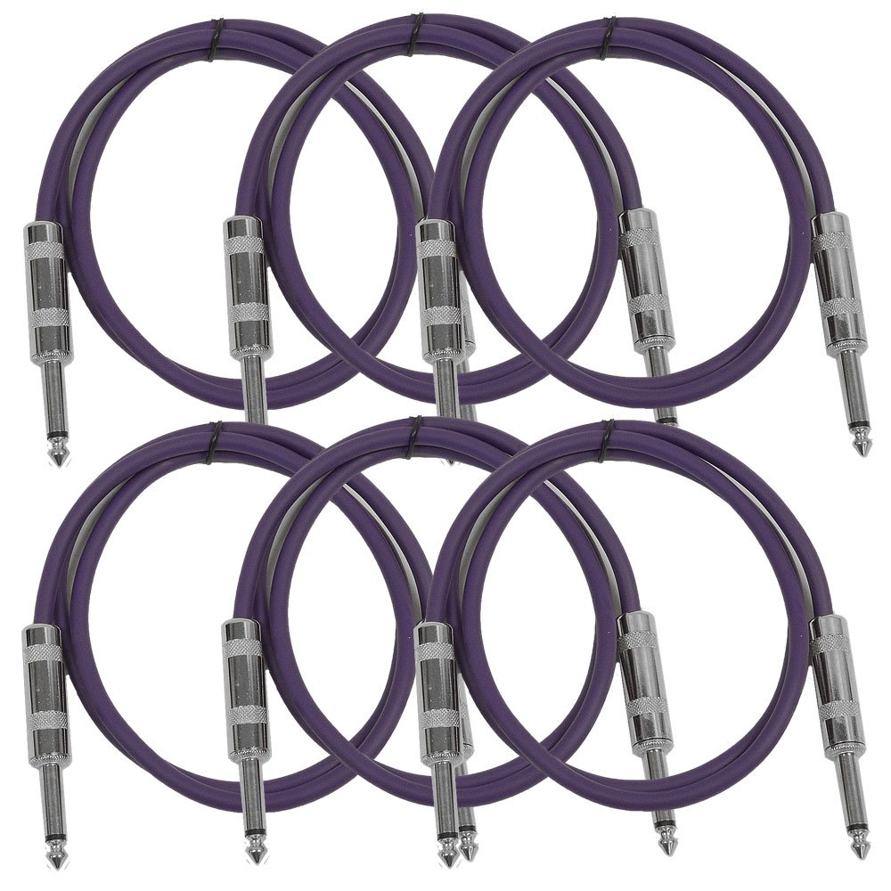 Seismic Audio - SASTSX-2 (6 Pack) - 2 Foot TS 1/4'' Guitar, Instrument, or Patch Cables Purple