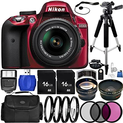 Nikon D3300 DSLR Camera (Red) Bundle with DX NIKKOR 18-55mm f/3 5-5 6G VR  II Lens, Carrying Case and Accessory Kit (31 Items)