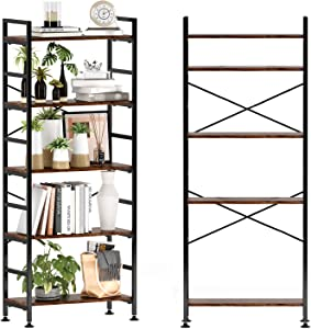 CosyStar 5-Tier Adjustable Tall Bookcase, Rustic Wood and Metal Standing Bookshelf, Industrial Vintage Book Shelf Unit, Open Back Modern Office Bookcases