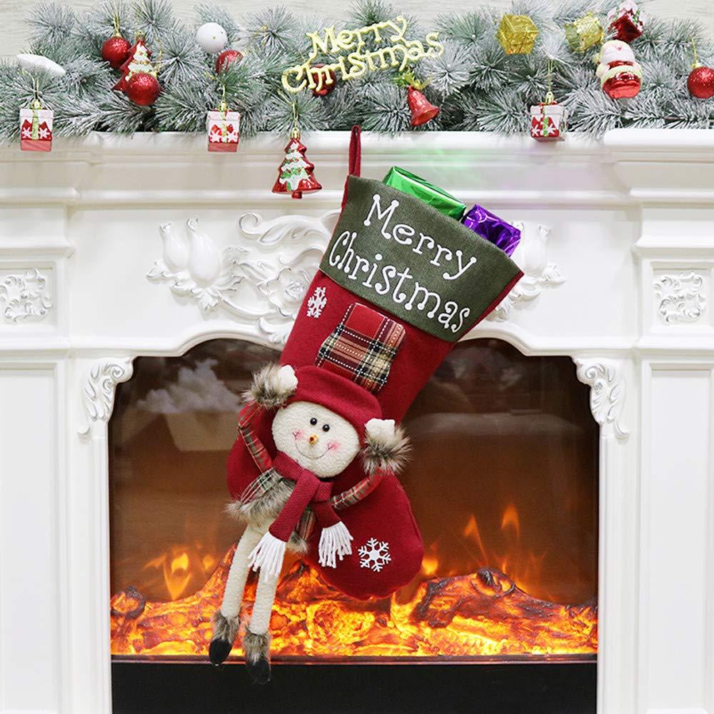 LEEDY - Bolsa de Caramelos para árbol de Navidad, decoración de Calcetines, Papá Noel, muñeco de Nieve, decoración de Calcetines, Adornos Colgantes, B, ...