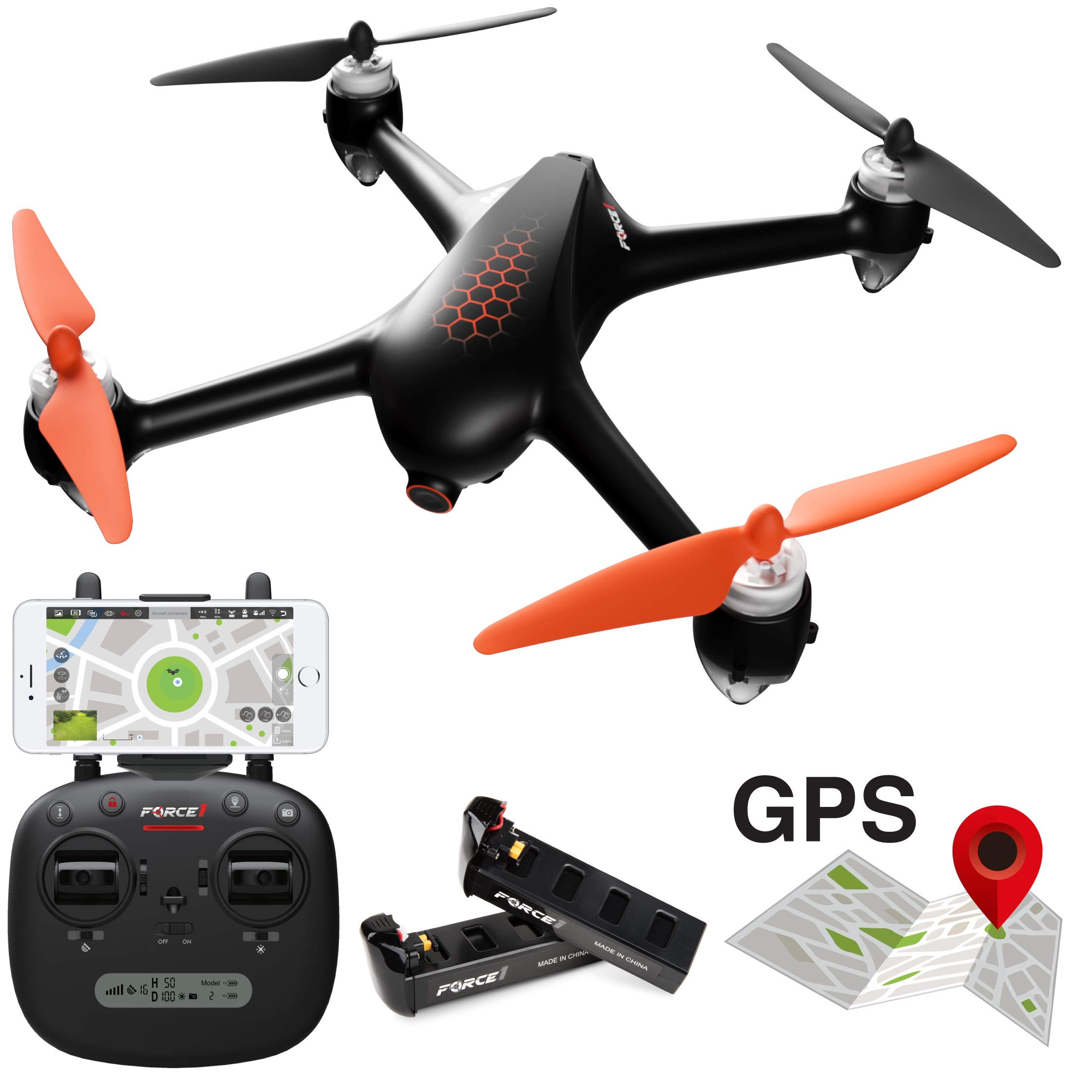 Force1 GPS Drones with Camera – F200SE Shadow Hex GPS Follow Me Drone, 1080p HD WiFi Camera Drone, FPV Drone, Long Range Drone w/VR Capability