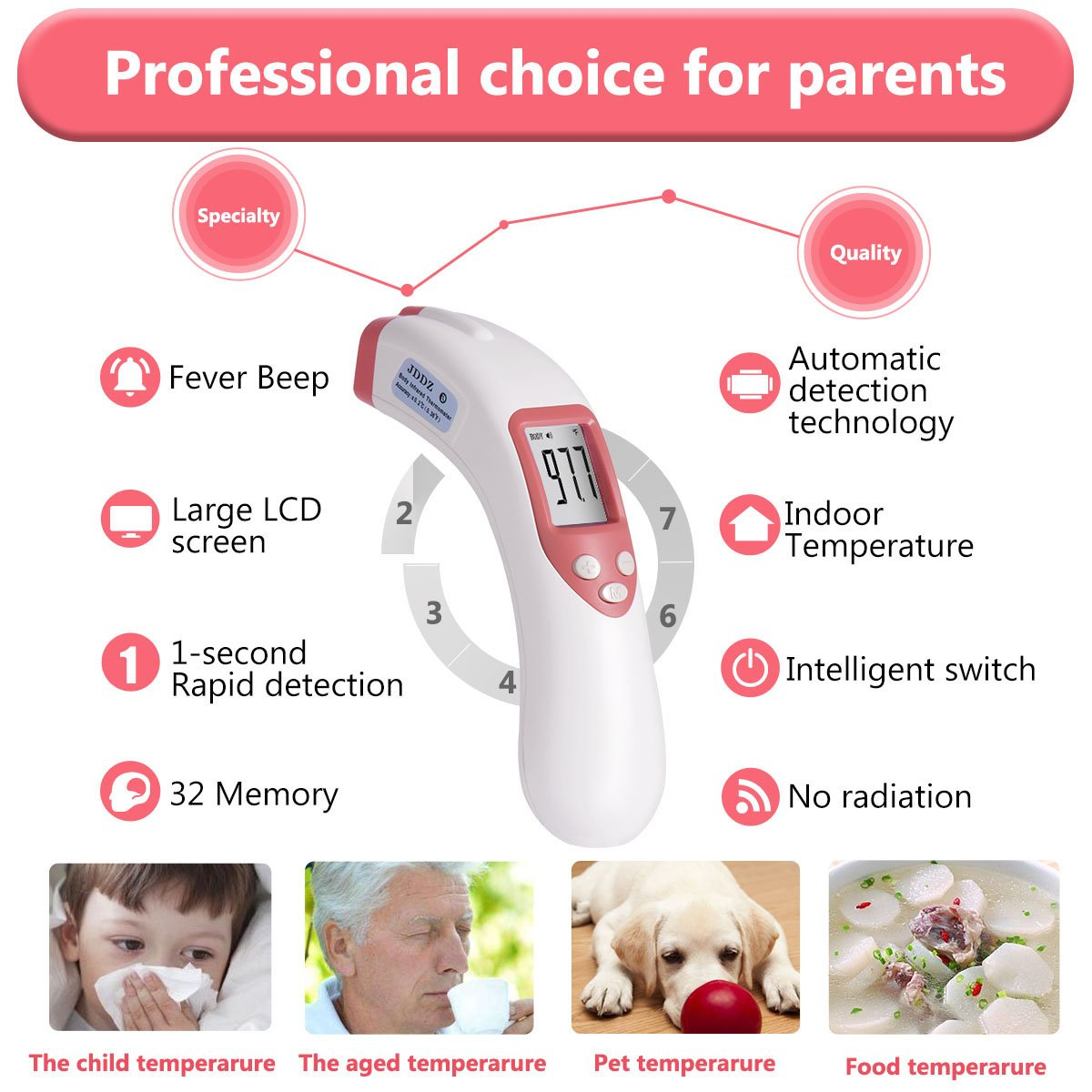 Forehead Thermometer, JDDZ Non-Contact Infants Infrared Thermometer, Professional Clinical Instant Digital Fever Temperature Scanner for Baby,Kids and Home with Bilingual Celsius Fahrenheit(Pink) by JDDZ (Image #3)