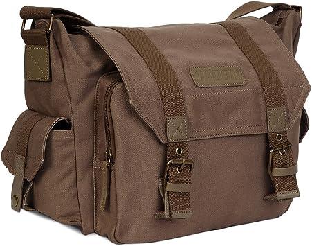 Cloth bag canvas with leather bag shoulder messenger bag casual photography waterproof liner SLR camera bag,