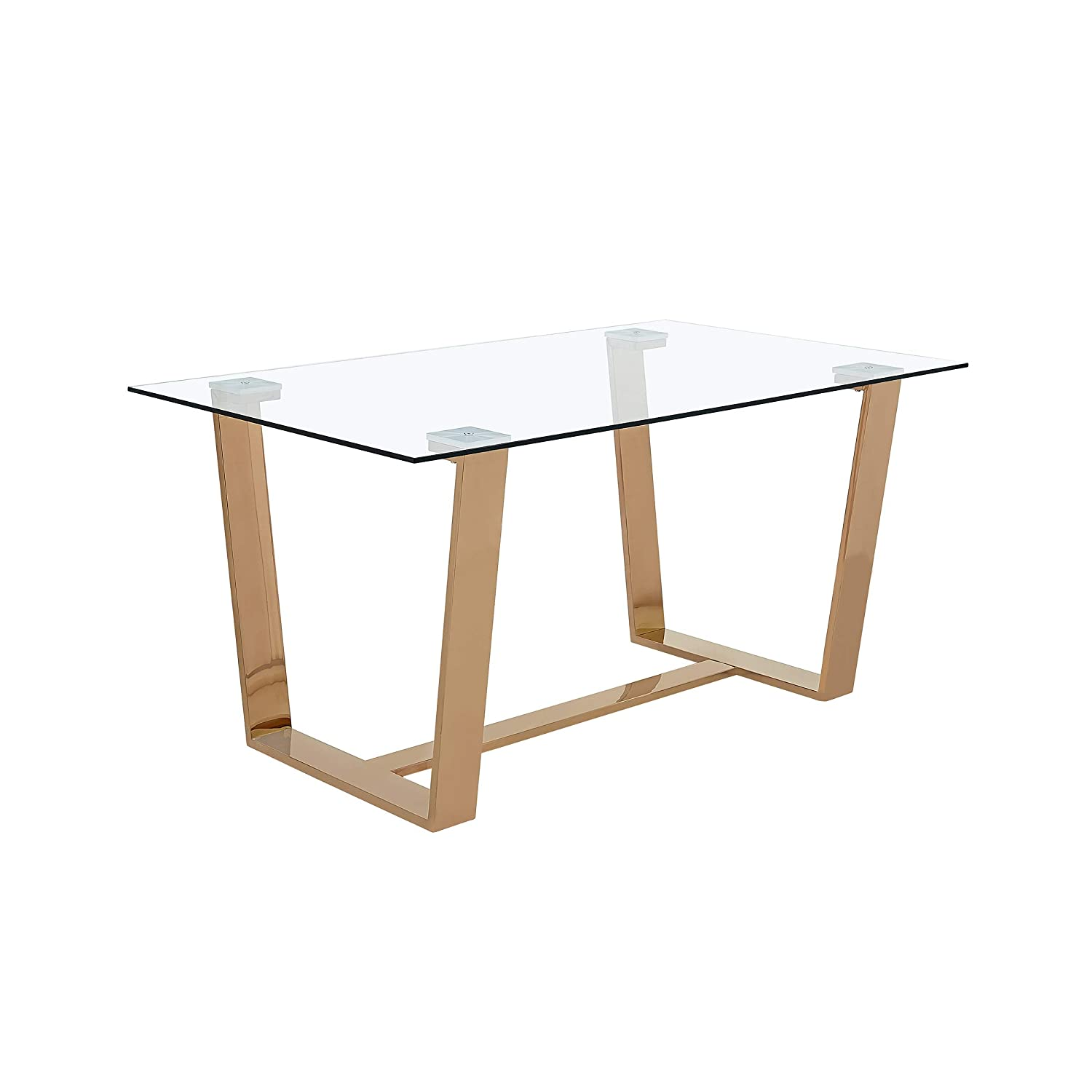Christopher Knight Home Kit Modern Tempered Glass Dining Table, Rose Gold, Clear
