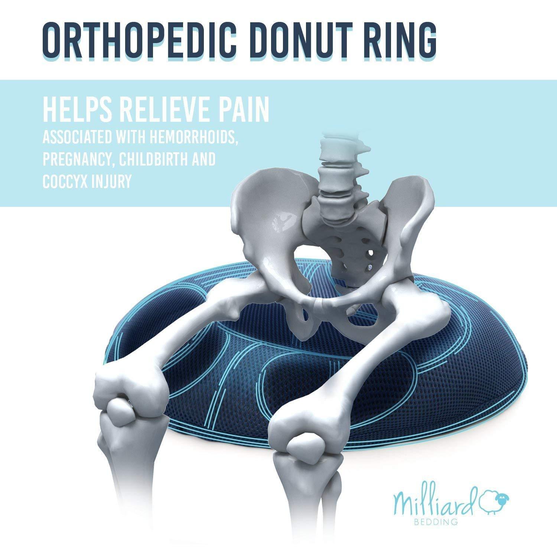 Milliard - Cuscino ortopedico a ciambella, sfoderabile, per emorroidi, nervo sciatico, gravidanza e dolori al coccige,grande, 50x 38cm MIL-HK514E