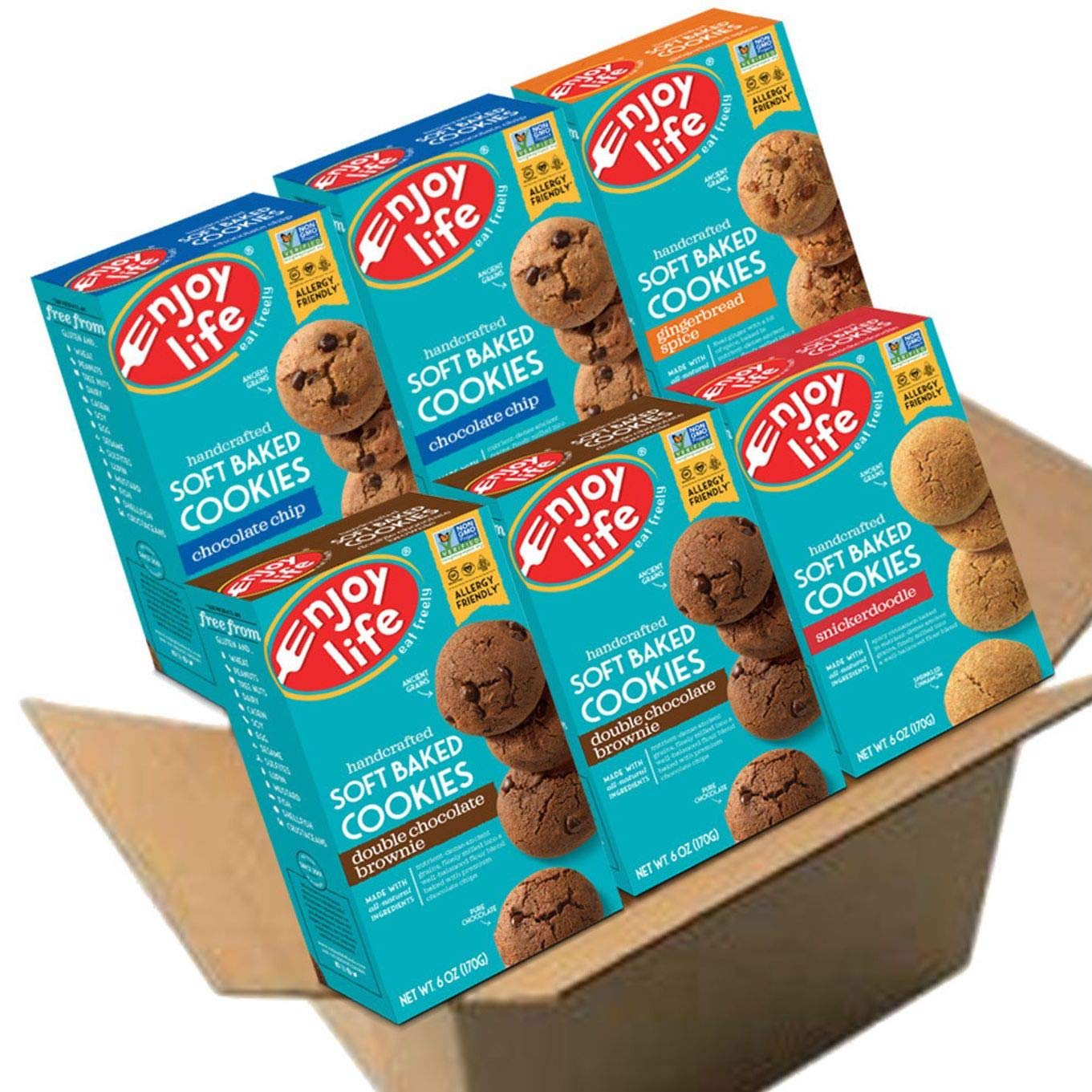 Enjoy Life Soft Baked Cookies, Soy free, Nut free, Gluten free, Dairy free, Non GMO, Vegan, Variety Pack (Chocolate Chip, Double Chocolate Brownie, Snickerdoodle, Gingerbread Spice), 6 Boxes by Enjoy Life Foods
