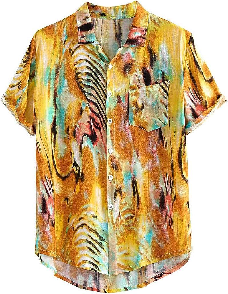 Camisa holgada para hombre, estilo hawaiano, con botones, de manga corta, transpirable, para vacaciones, Hawaii, tallas grandes M a 4XL Amarillo amarillo M: Amazon.es: Ropa y accesorios