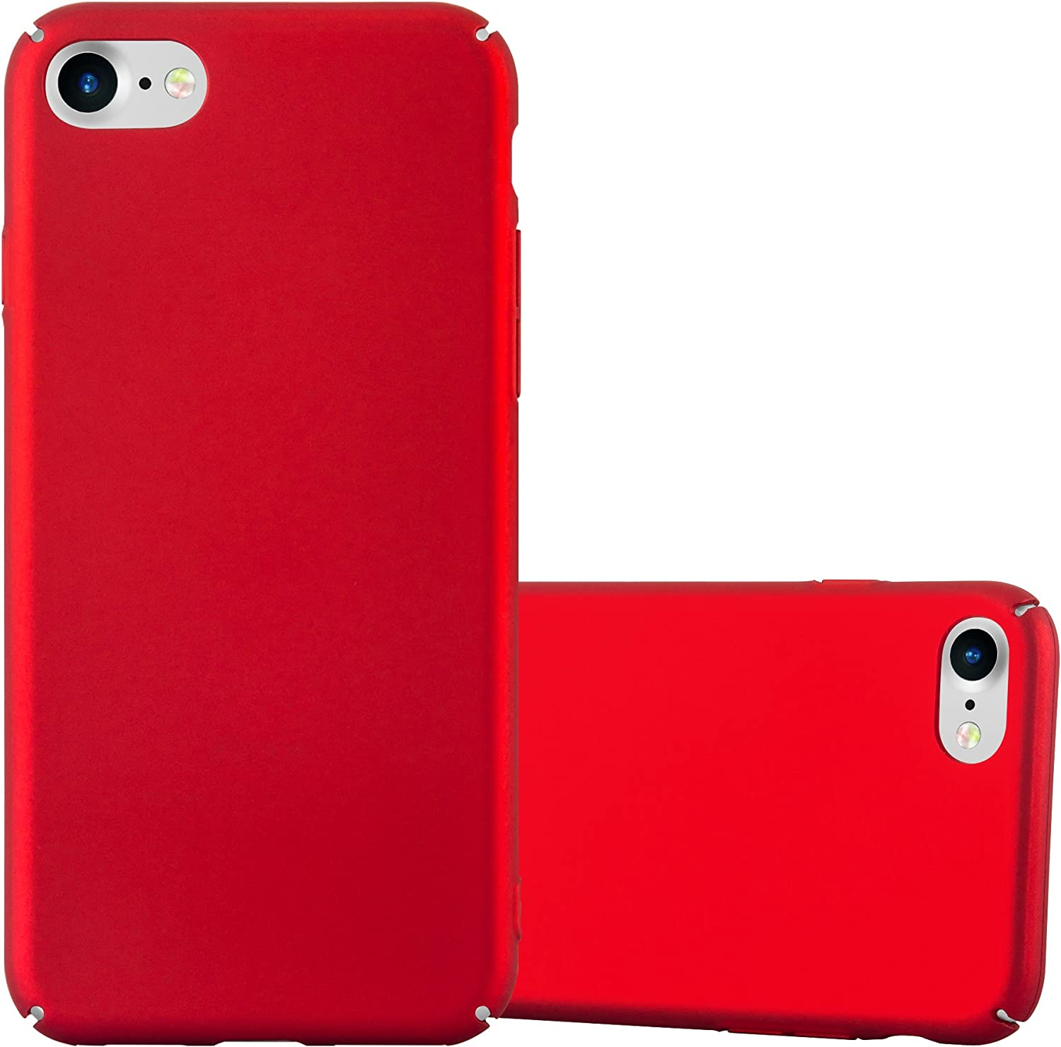 Cadorabo Case Compatible with Apple iPhone 7 / iPhone 7S / iPhone 8 in Metal RED - Shockproof and Scratch Resistent Plastic Hard Cover - Ultra Slim Protective Shell Bumper Back Skin