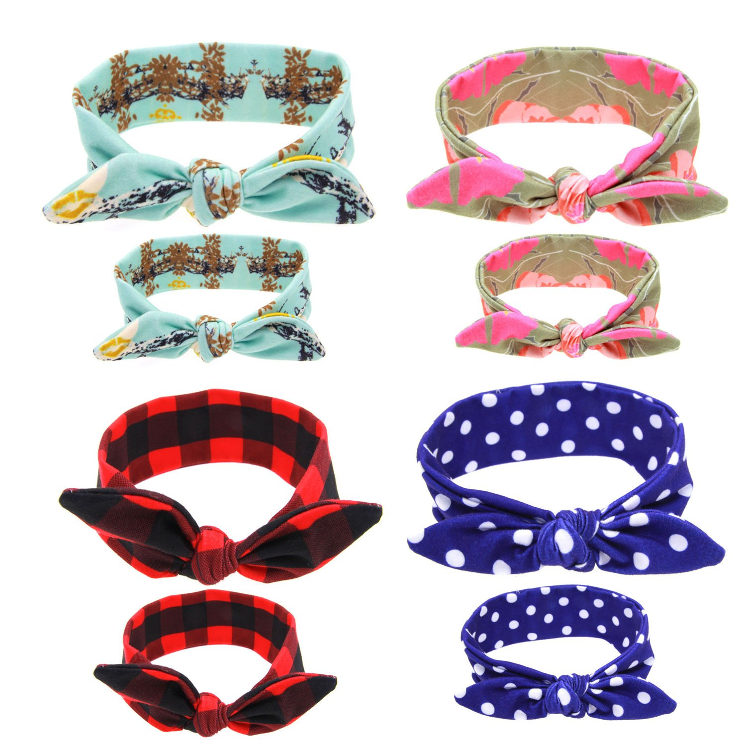 Topcoco 12PCS Baby and Mom Headbands Bow and Knot Hair Bands Elastic Headwear TP18012201-1