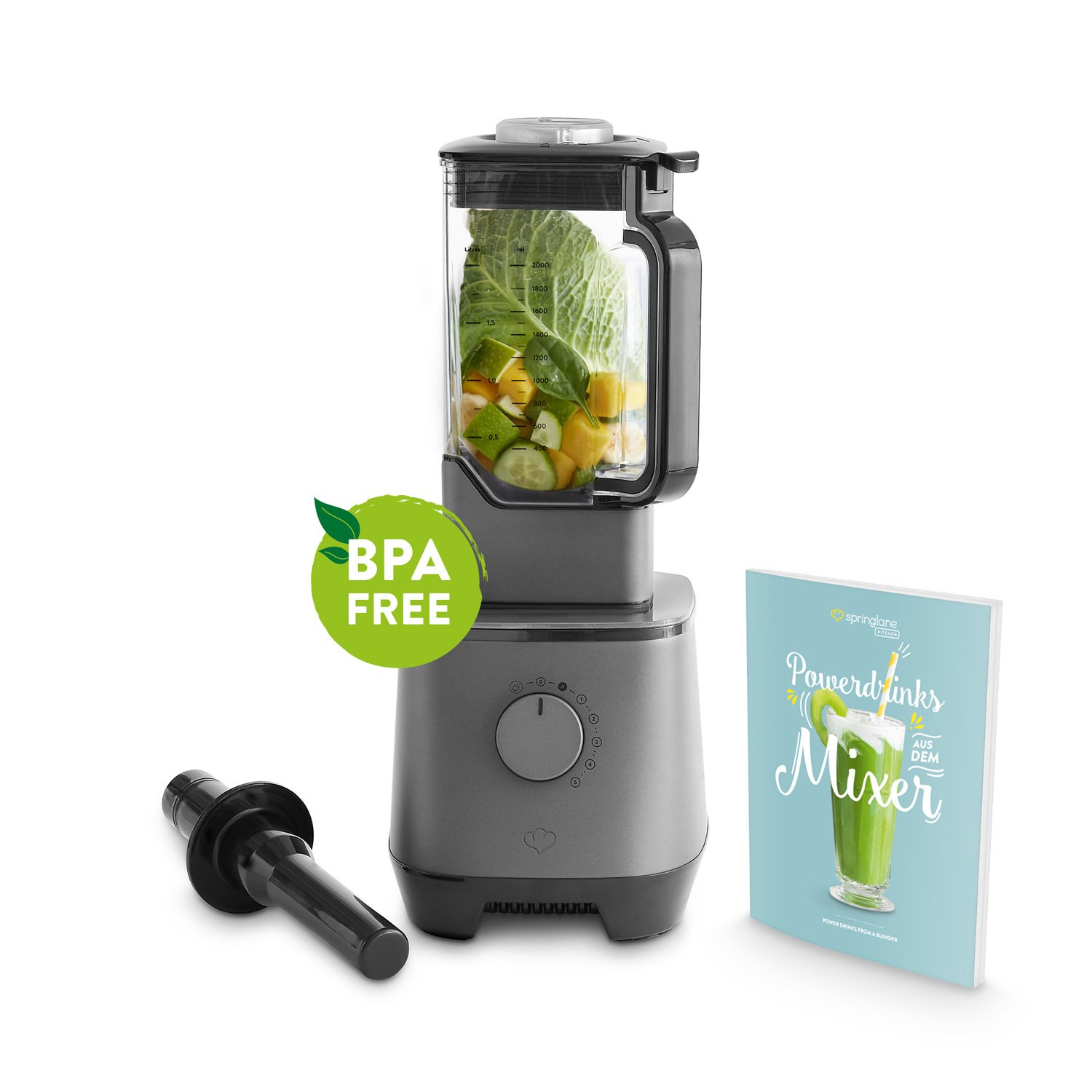 Power Blender 2 L by Springlane Kitchen - 2000W, Smoothie Maker: Mixing, Griding, Pulsing & Crushing Ice