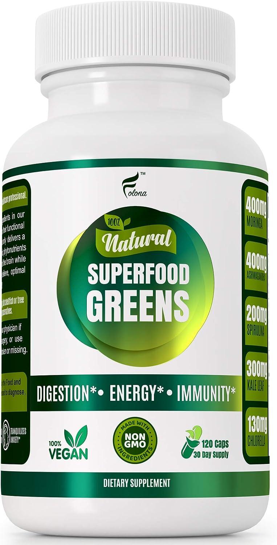 Organic Vegan Super Greens Capsules with Ashwagandha - Immune Support with All Natural Whole Food Nutrients Chlorella, Moringa, Spirulina, Turmeric, Kale. Improve Digestion, Boost Energy - Detox Pills