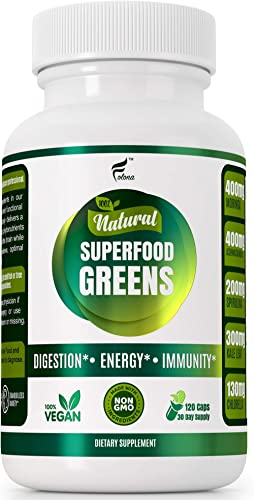 Organic Vegan Super Greens Capsules with Ashwagandha - Immune Support with All Natural Whole Food Nutrients Chlorella, Moringa, Spirulina, Turmeric, Kale. Improve Digestion, Boost Energy - Detox Pills