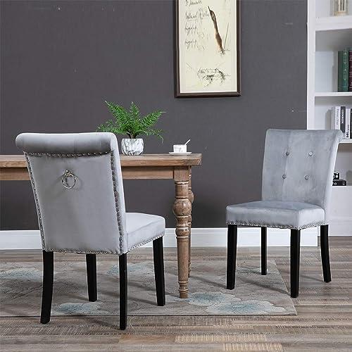 Binrrio 2 Pcs Grey Dining Room Chair Velvet Fabric