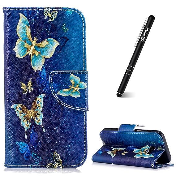 Slynmax Schutzhülle für Galaxy A3 2017 Blau, Blumen PU Ledertasche Wallet Case Handyhülle Kompatibel mit Samsung Galaxy A3 20