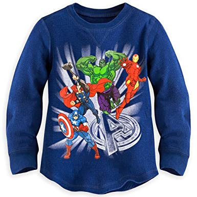 dabffb888b1 Disney Store Marvel Avengers Little Boy Long Sleeve Thermal Shirt Size 5 6