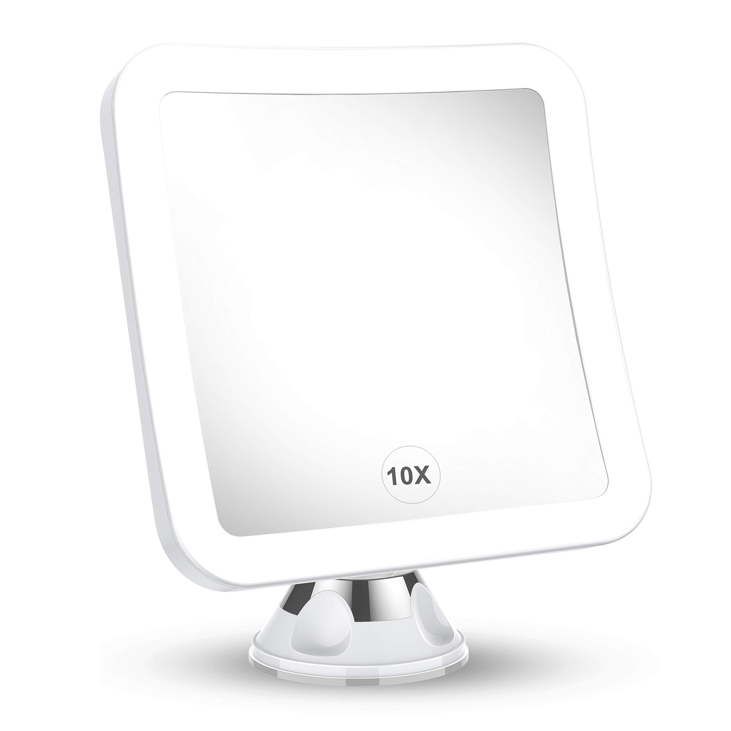 2021 Upgraded 10x Magnifying Lighted Makeup Mirror with Natural White LED Lights, 360°Swivel Portable Cordless Makeup Mirrors with Locking Suction Base for Home Bathroom Shower and Travel