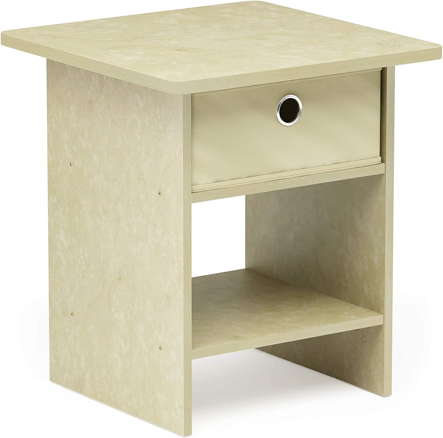 FURINNO Dario End Table/Night Stand Storage Shelf, 1-Pack, Cream Faux Marble/Ivory