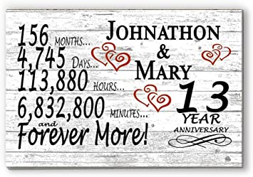 Amazon Com Broad Bay Personalized 13 Year Anniversary Sign Gift Thirteenth Wedding Anniversary 13th For Couple Him Or Her Days Minutes Years Furniture Decor