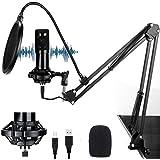 (2021 Nuevo modelo)Cheelom Kit 192KHZ / 24BIT de Micrófono Condensador Profesional y Micrófono Condensador para Radiodifusión