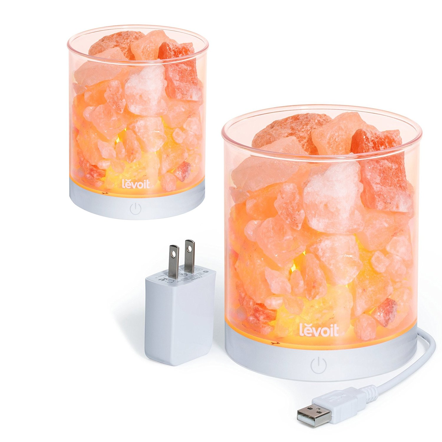 Levoit 2 Pack Cora Himalayan Salt Lamp Natural Glow Pink Sea Crystal Rock (Portable Design), 2 pounds,Touch Brightness Dimmable Control, Levoit Basin Design,UL-Listed Cord and Gift Box