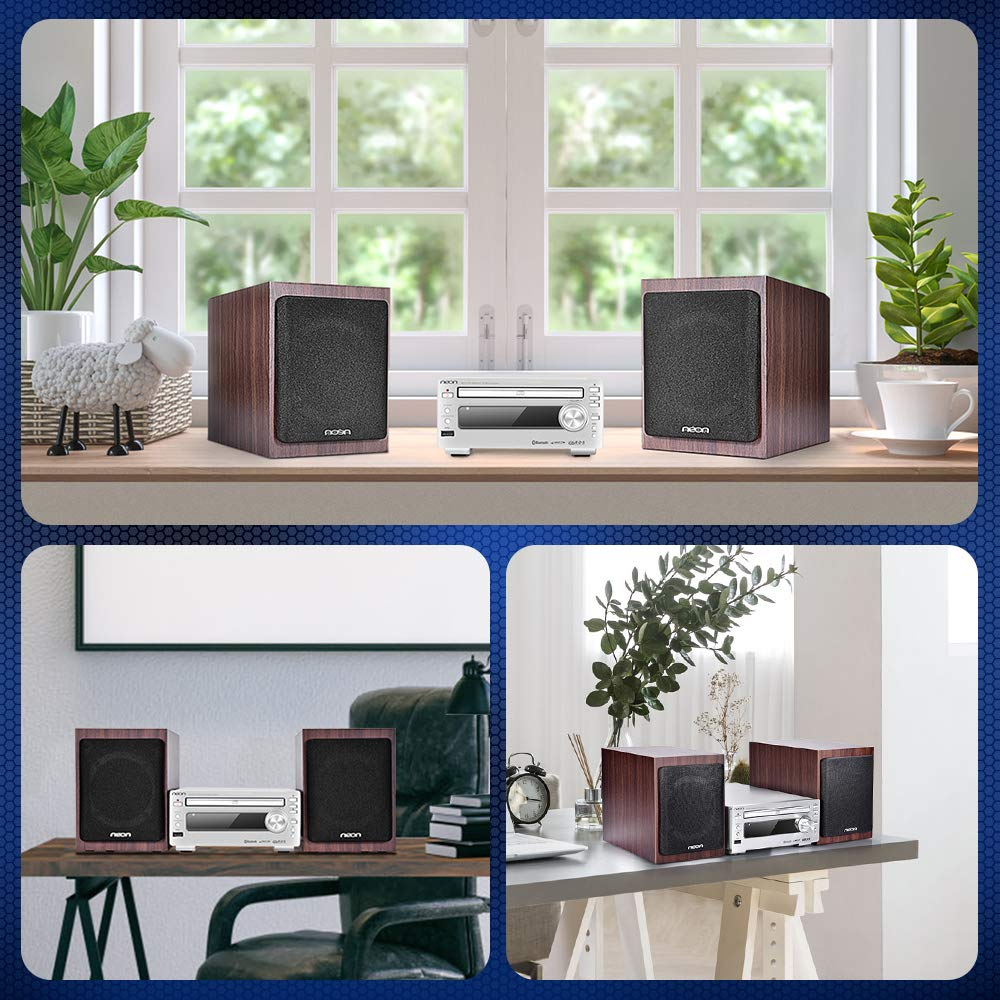 Bluetooth Stereo System - Music Streaming System w/ CD Players, FM Radio, MP3, SD Slot, USB, Remote Control, AUX, Headphone Jack, HiFi Digital Audio System Perfect for Home Cinema, MCB1533 by Neon (Image #6)