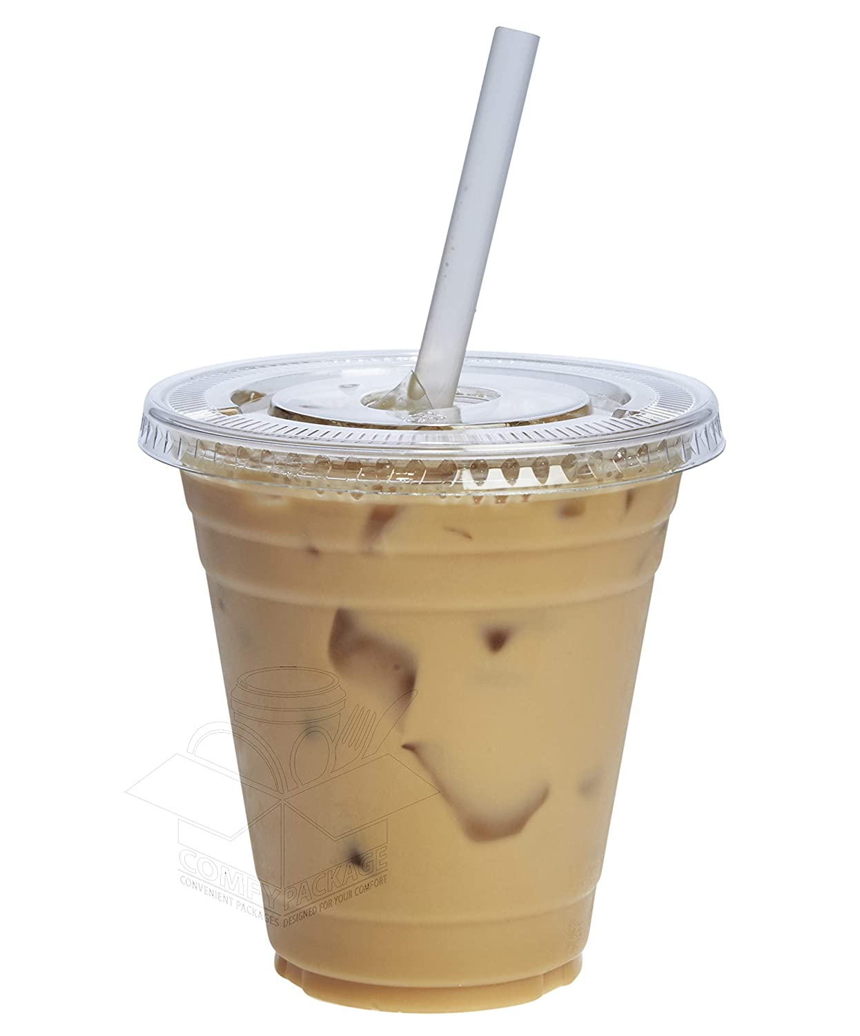 [100 Sets - 12 oz.] Plastic Cups With Flat Lids
