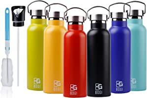 BOGI 20oz Double Wall Vacuum Insulated Stainless Steel Water Bottle-Scratch Resistance&Eco-Friendly Outdoor Sports Yoga...