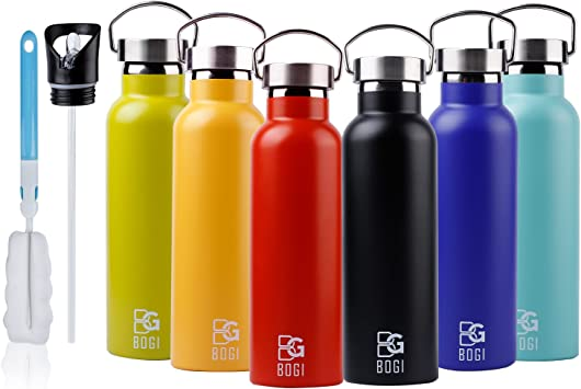 BOGI 20oz Double Wall Vacuum Insulated Stainless Steel Water Bottle-Scratch Resistance&Eco-Friendly for Outdoor Sports Yoga Camping+Straw Flip Cap,2 ...
