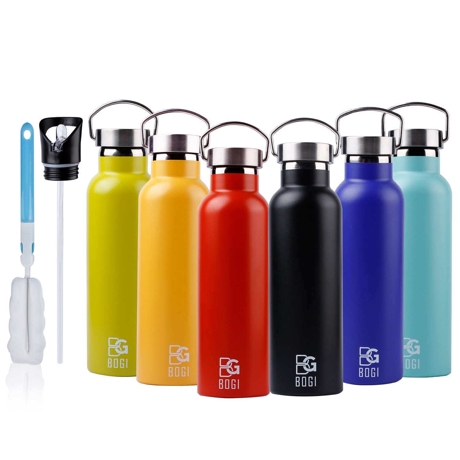 BOGI 20oz Double Wall Vacuum Insulated Stainless Steel Water Bottle-Scratch Resistance&Eco-Friendly for Outdoor Sports Yoga Camping+Straw Flip Cap,2 Straw&Cleaning Brush-1Year Warranty