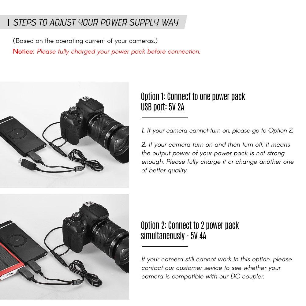 Andoer LP-E8 DC Adaptador de Alimentaci/ón USB del Acoplador Kit de Cargador de C/ámara de Bater/ía Ficticia para Canon Rebel T3i T2i T4i T5i EOS 600D 550D 650D 700D Kiss X5 X4 X6
