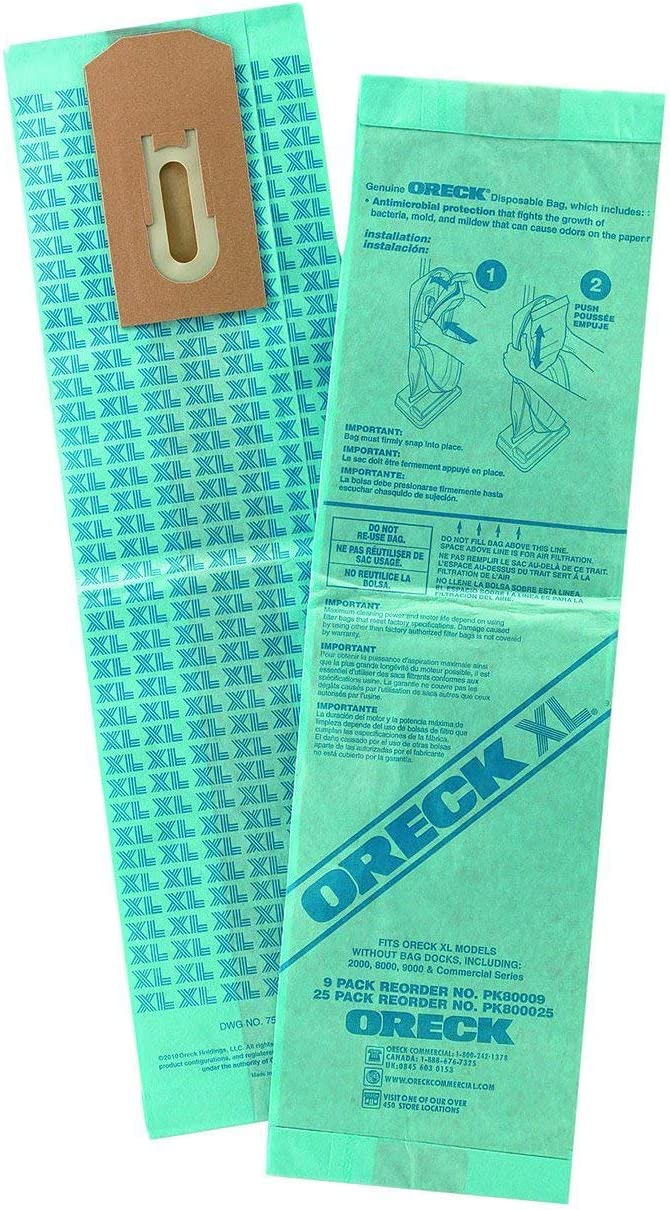Oreck Commercial PK800025 Upright Vacuum Disposable Bag, For Upright Vacuum, Pack of 25