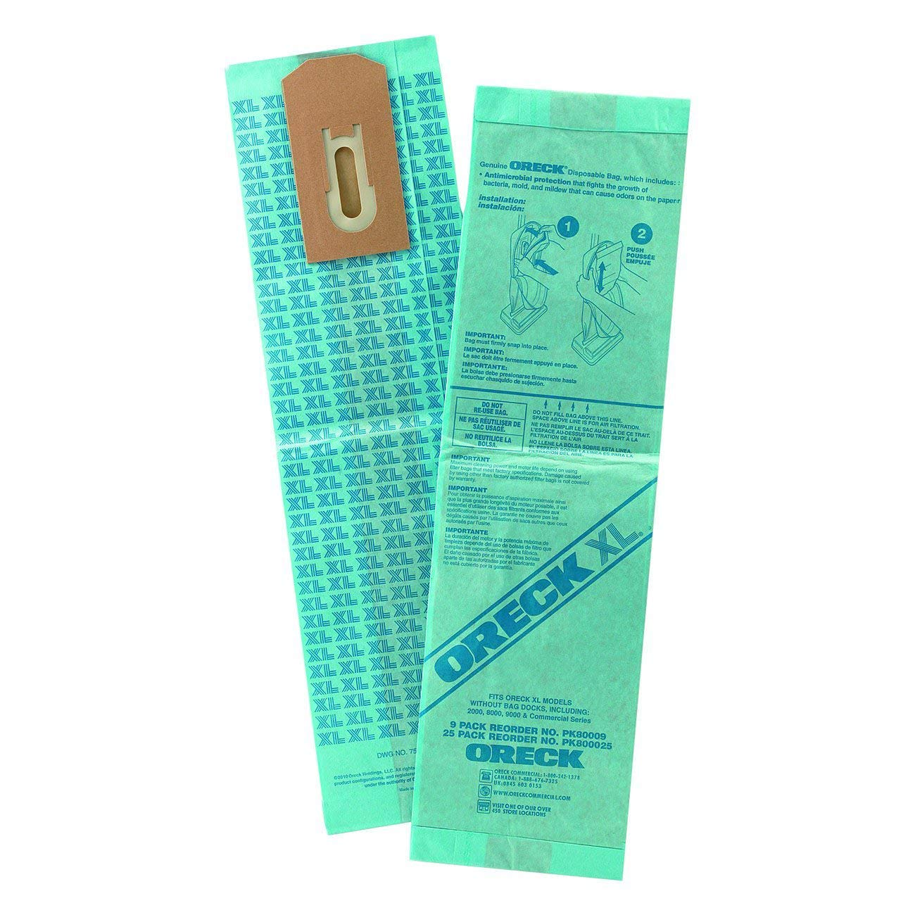 Oreck Commercial PK800025 Upright Vacuum Disposable Bag, For Upright Vacuum, Pack of 25 by Oreck