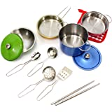 PowerTRC Colorful Metal Pots and Pans Cookware with Utensils Playset for Kids