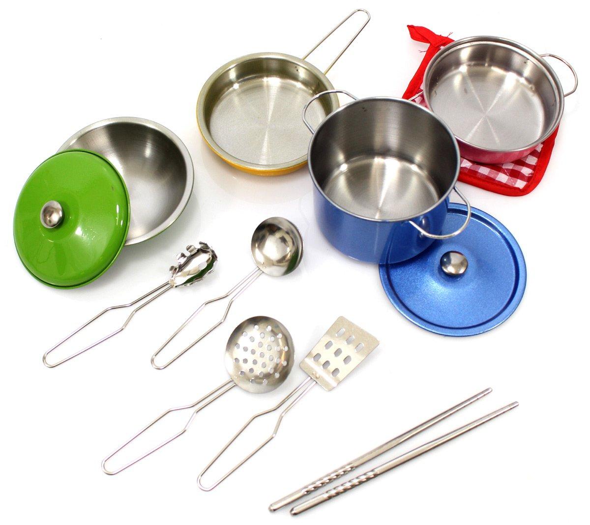 AMPERSAND SHOPS Kids Kitchen Cookware Metal Pots and Pans Playset (12-Piece Set)