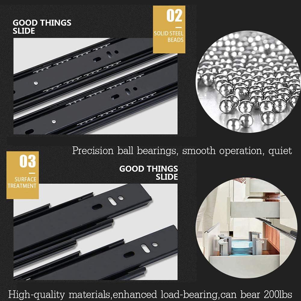 Riel telesc/ópico para caj/ón de 250 mm 600 mm Basic Model con cierre suave. gu/ía 10inch//25cm