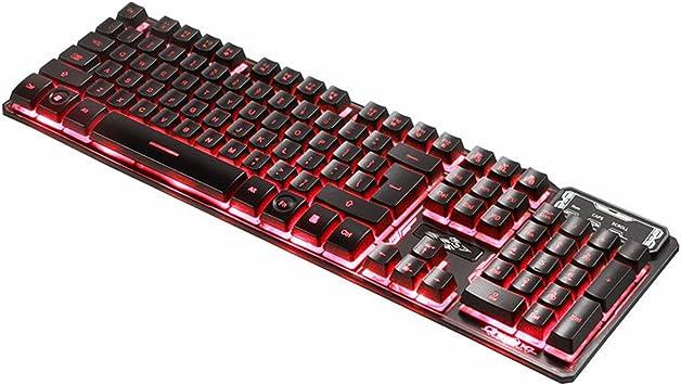 M. Way Teclado USB Gaming Teclado mecánico sensación LED Parte de Keyboard con cable Tres trasera color iluminada para PC Ordenador Portátil (Teclado ...