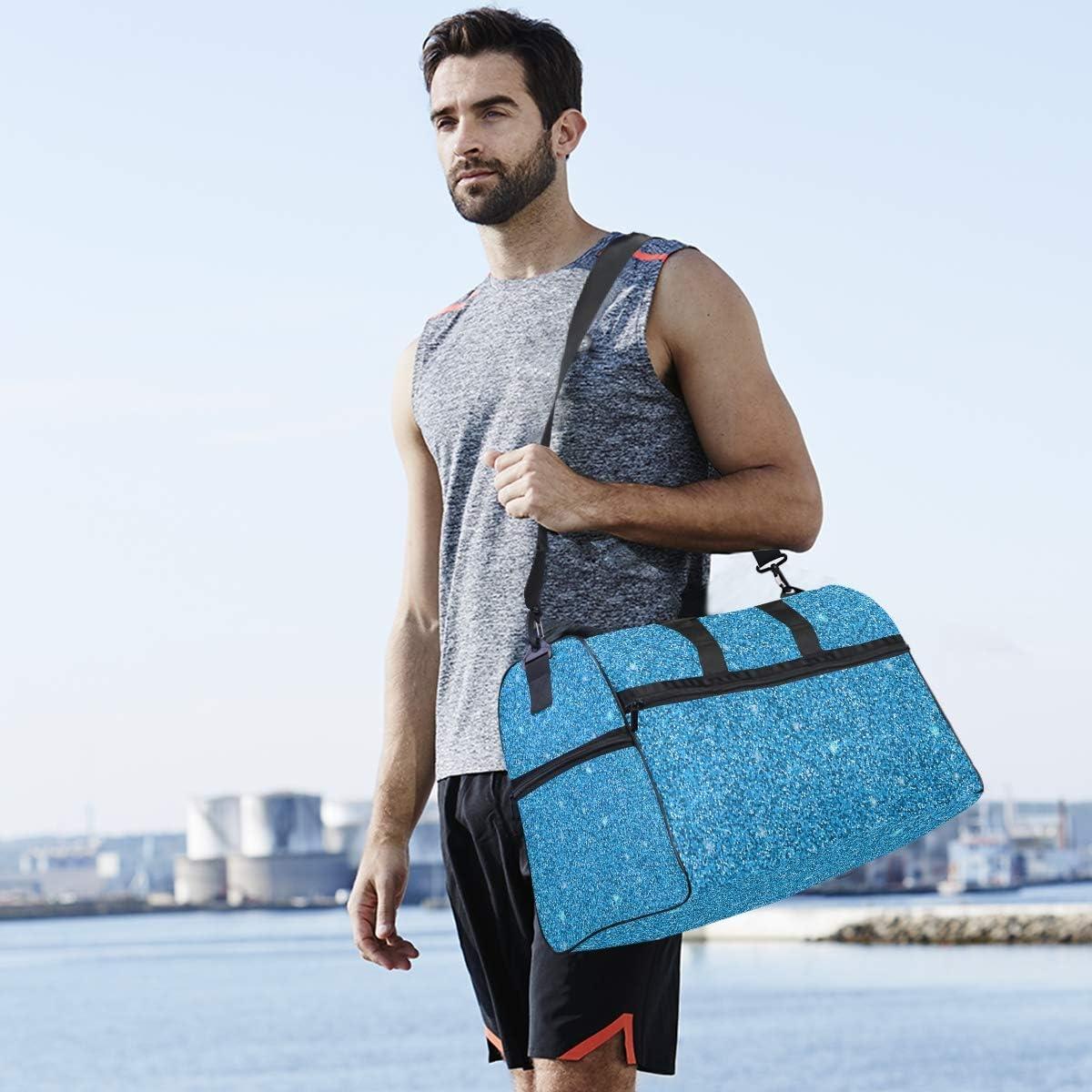 ALAZA Stylish Blue Glitter Stars Sports Gym Duffel Bag Travel Luggage Handbag Shoulder Bag with Shoes Compartment for Men Women