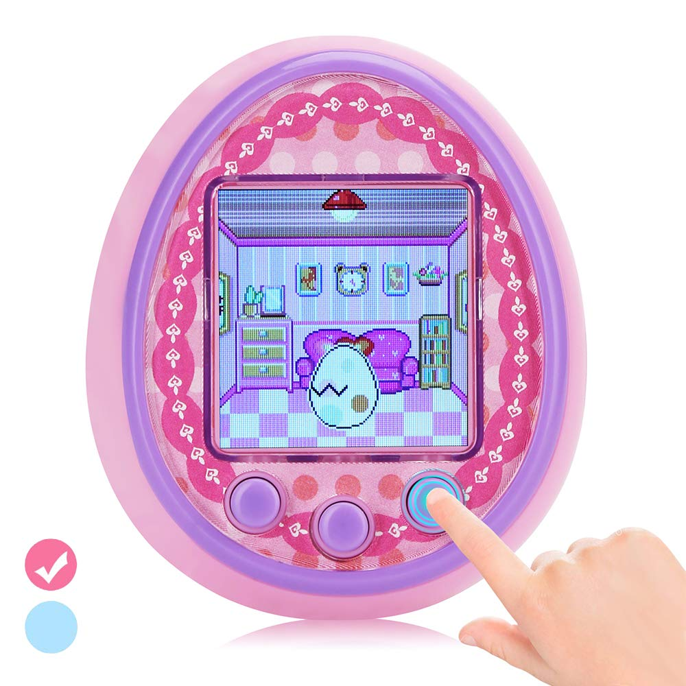 DUIWOIM Virtual Pet Electronic Handheld Pet Game Machine Kids Educational Toy HD Color Screen New Version 8 Characters Birthaday Gift for Girls Best Partner for Kids Age Over 6 Years(Pink) by DUIWOIM (Image #1)