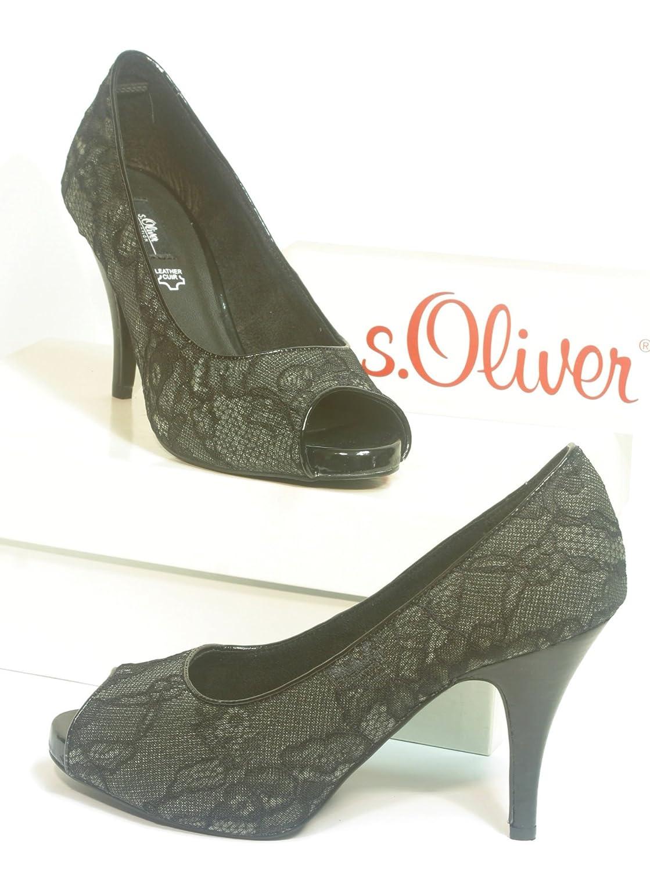 lowest price 81338 31091 s.Oliver Stiletto Peeptoe High-Heels black Size. 4: Amazon ...