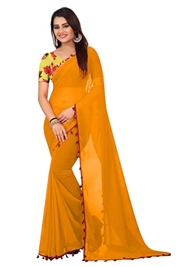 01399f8672863e Radiance Star Women s Yellow Colour Georgette Saree With Printed Silk  Blouse Piece  Amazon.in  Clothing   Accessories