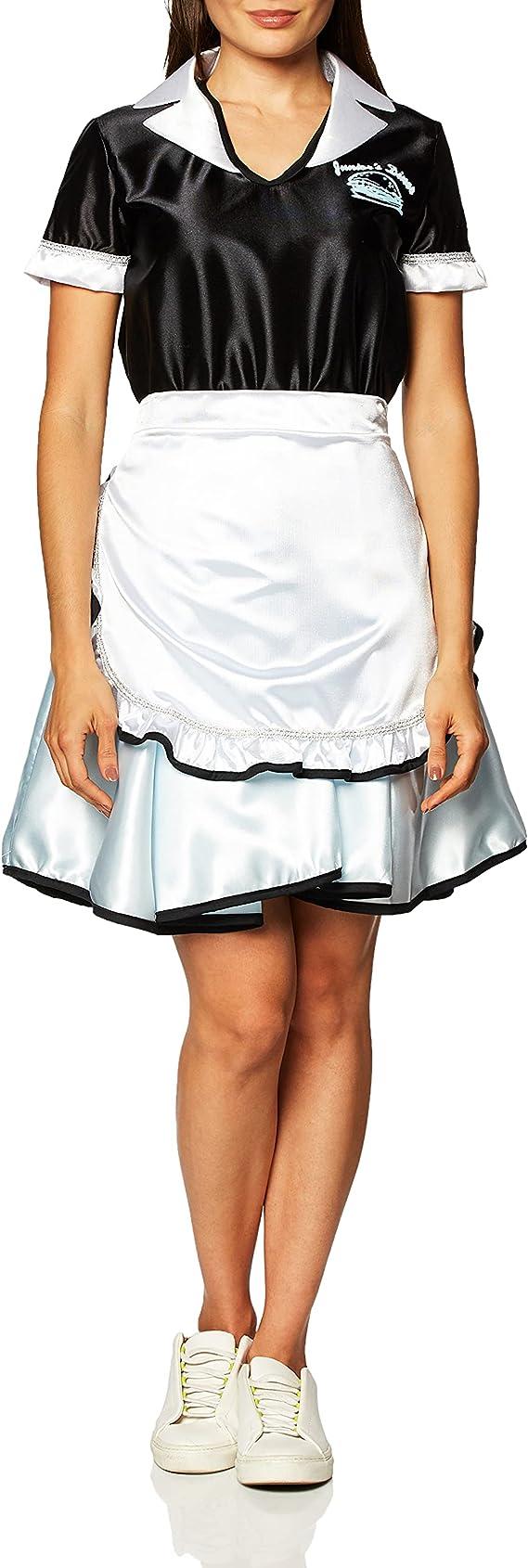GIRLS 50/'S CAR SOCK HOP WAITRESS COSTUME DRESS S RU38720