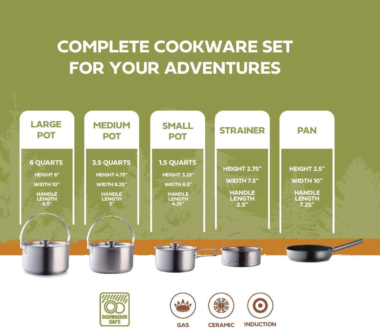 Dibiao Camping Cookware Set Portable Outdoor Cooking Set Camping Hiking Cookware Picnic Stockpot Pan Camping Pots and Pans Set