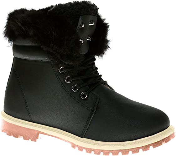 NEW WOMENS LADIES FAUX LEATHER FUR COLLAR FLAT ANKLE BOOTS TRAINERS SIZE
