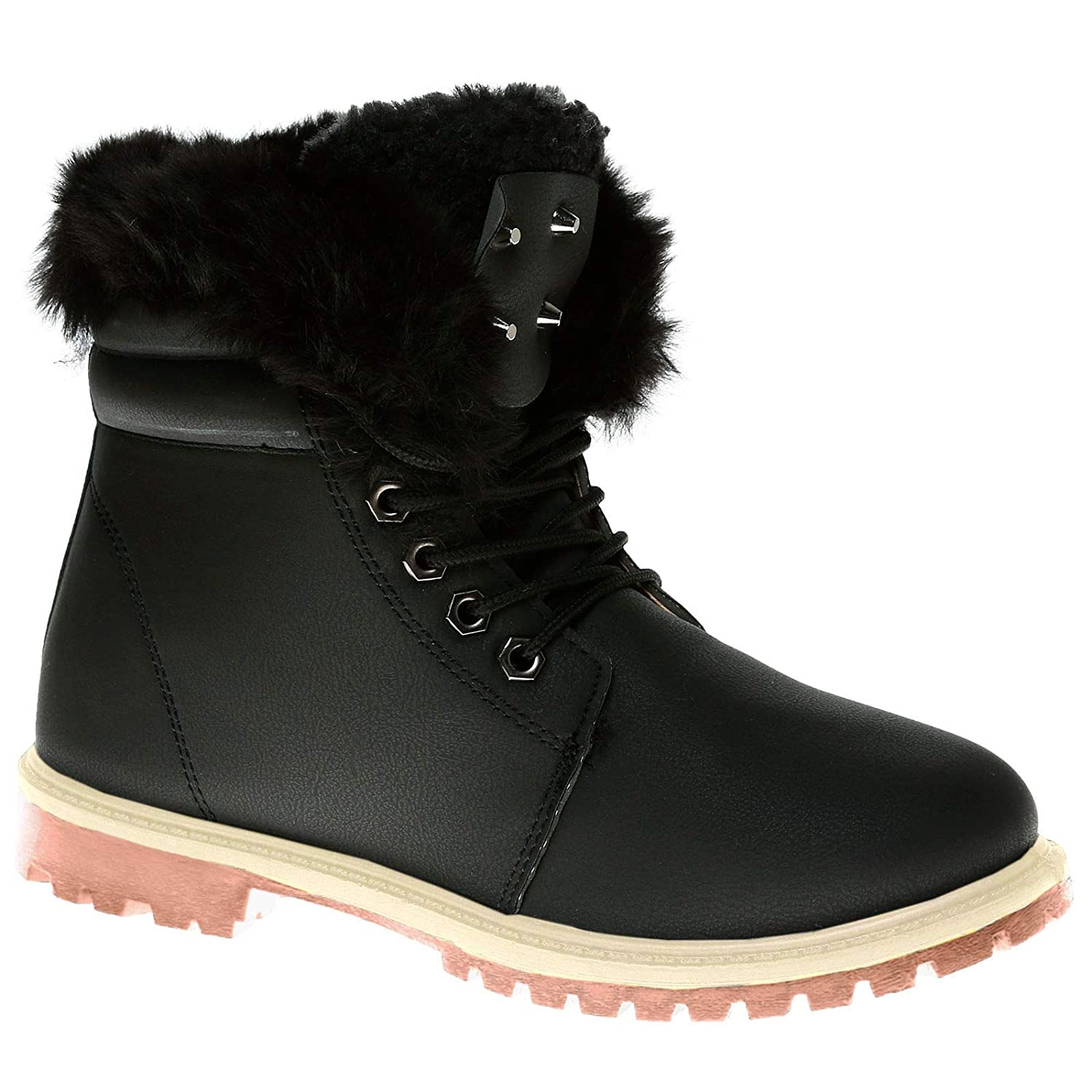 4ebf01ef4d1 Ladies ankle boots womens fur collar flat grip sole army combat warm jpg  1500x1500 Boots ladies