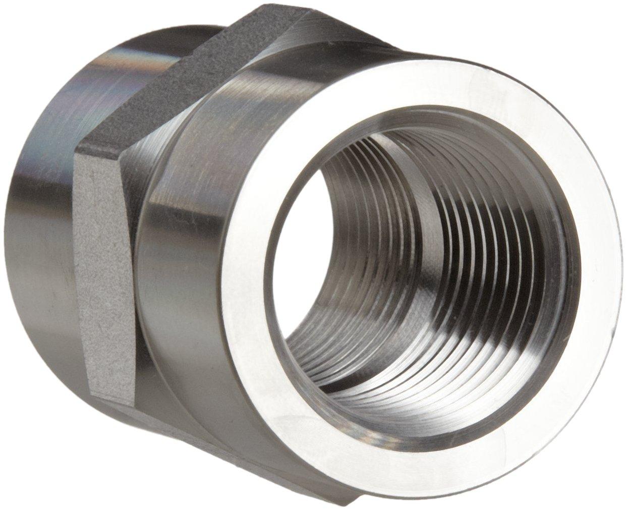 Parker Stainless Steel 316 Pipe Fitting, Hex Coupling, 1/2'' NPT Female X 1/2'' NPT Female
